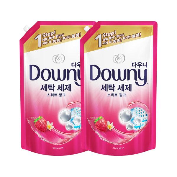 다우니 프리미엄 세탁세제 액체형 핑크 리필형1.8L 2개 상품이미지