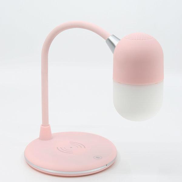 블루투스스피커 무드등 휴대폰무선충전기 3in1 핑크 상품이미지
