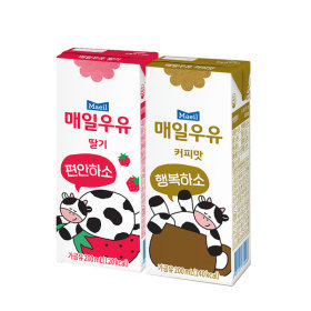 딸기 멸균우유 200ml 24팩+커피 멸균우유 200ml 24팩