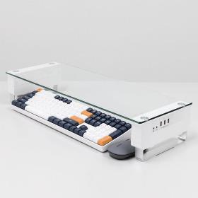 모니터받침대 R1 선반 높이조절 USB 강화유리