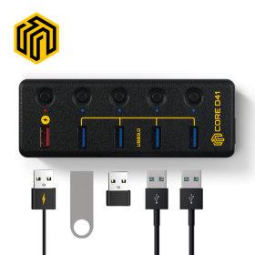 CORE D41 USB3.0 5포트 퀵차지 허브  ON/OFF 스위치