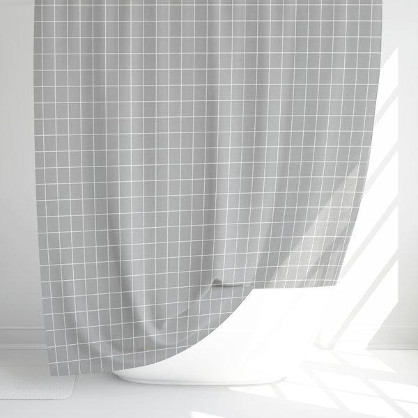 패브릭 샤워커튼-체크무늬-그레이/커텐 블라인드 욕실 상품이미지