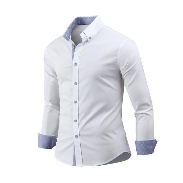남자 셔츠 긴팔 배색스판 남성 남방 와이셔츠 sh2598 상품이미지