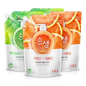 주방세제 순샘 구연산/베이킹소다 1.2Lx4(자몽2피톤2)