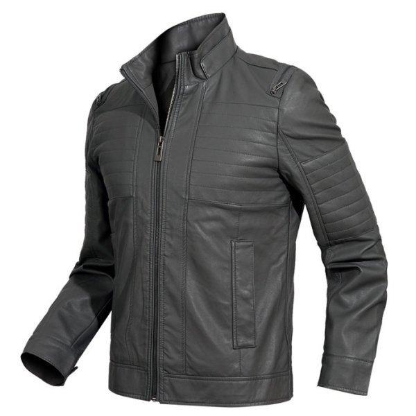 디바옴므 와이드 퀼팅 레더 자켓 (M8632) 상품이미지