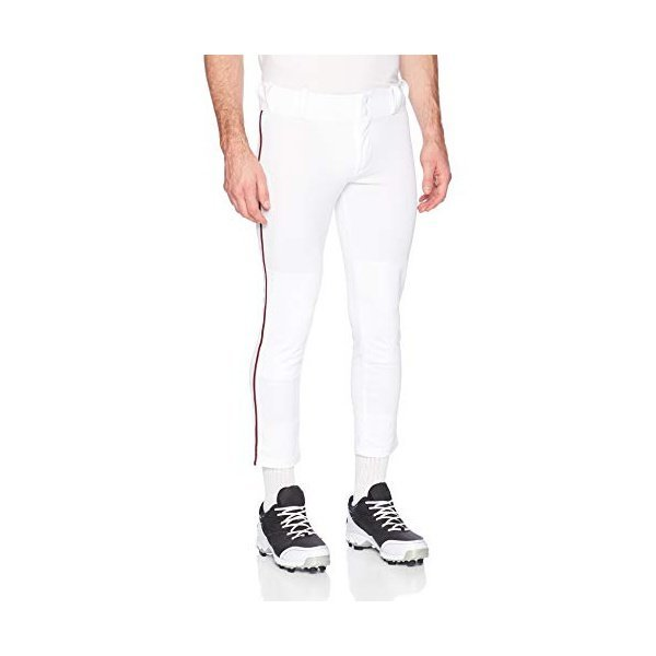 해외쇼핑/Alleson Ahtletic Mens Baseball Pants with Braid  3X-Large  White/Maroon 상품이미지