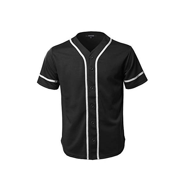 해외쇼핑/Youstar Mens Solid Front Button Closure Athletic Baseball Inspired Jersey Top 상품이미지
