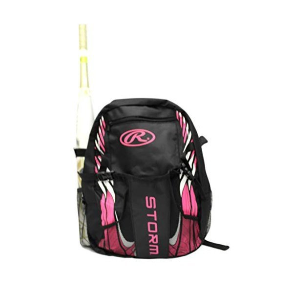 해외쇼핑/RAWLINGS Storm Girls T-Ball Softball Batting Bag Backpack Black/Pink 상품이미지