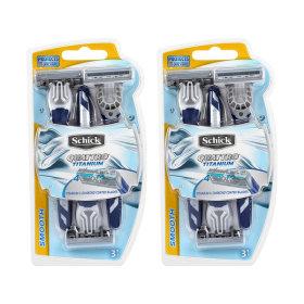 휴대용 면도기 쿼트로4 티타늄 휴대용 3개입 x 2팩