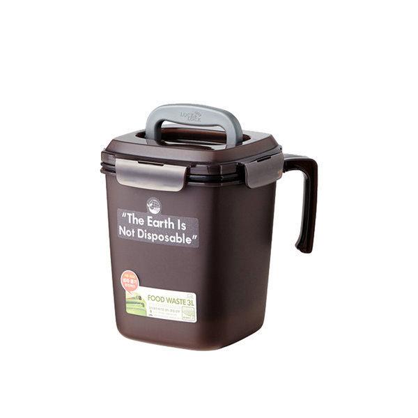 음식물 쓰레기통 3L 브라운 1개 상품이미지