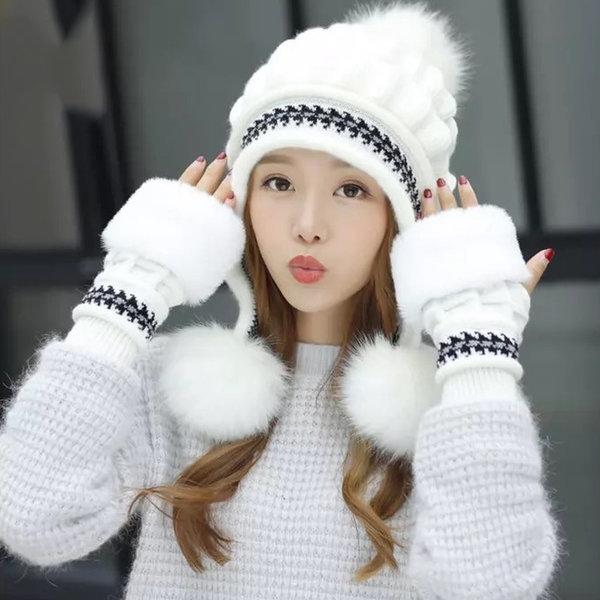 여성 장갑 겨울 털 모자 넥워머 귀마개 방한 세트 상품이미지
