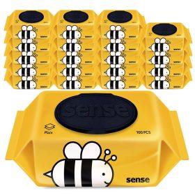센스물티슈 꿀벌 캡형 100매 10+10팩/ 한장씩톡톡
