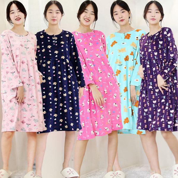 따뜻한 울트라밍크원피스 수면원피스 여성홈웨어 잠옷 상품이미지