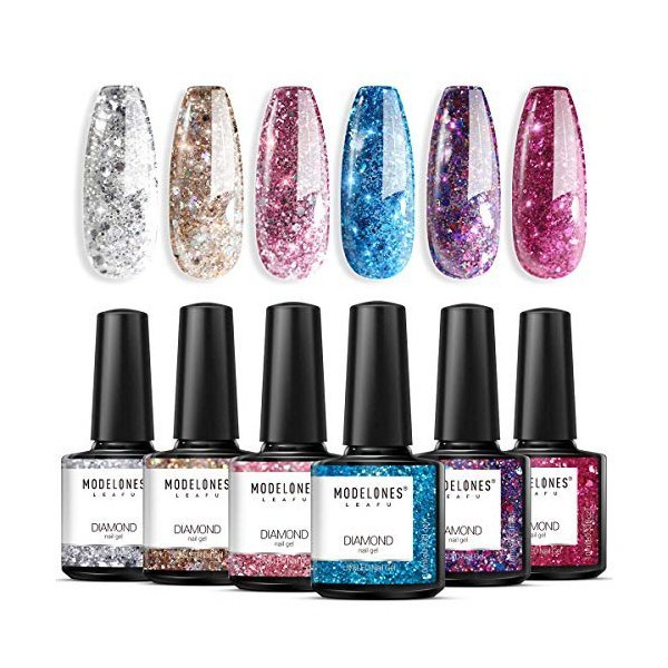 해외쇼핑/Glitter Gel Nail Polish Set - 6PCS 0.33 OZ UV LED Soak Off Gel Polish Collection of Red Pin 상품이미지