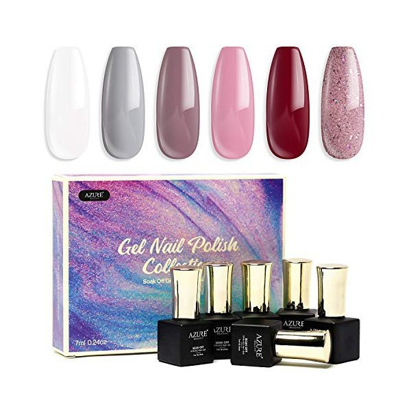 해외쇼핑/AZUREBEAUTY Gel Nail Polish Set - Nude Series 6 Colors Nail Art Gift Box  Soak Off UV LED G 상품이미지