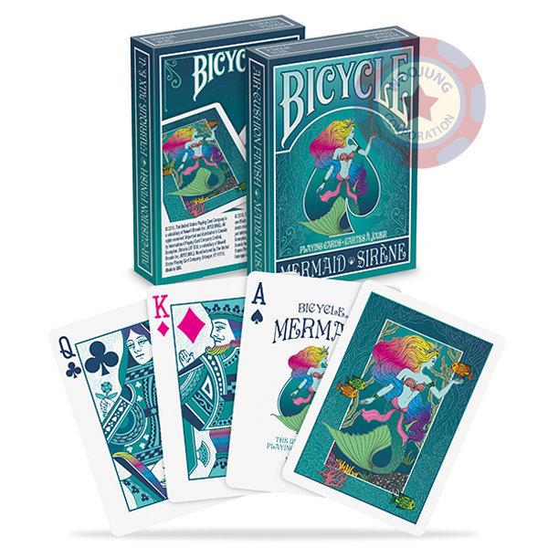 바이시클 머메이드 덱 게임 마술용품 마술소품 청록색 상품이미지