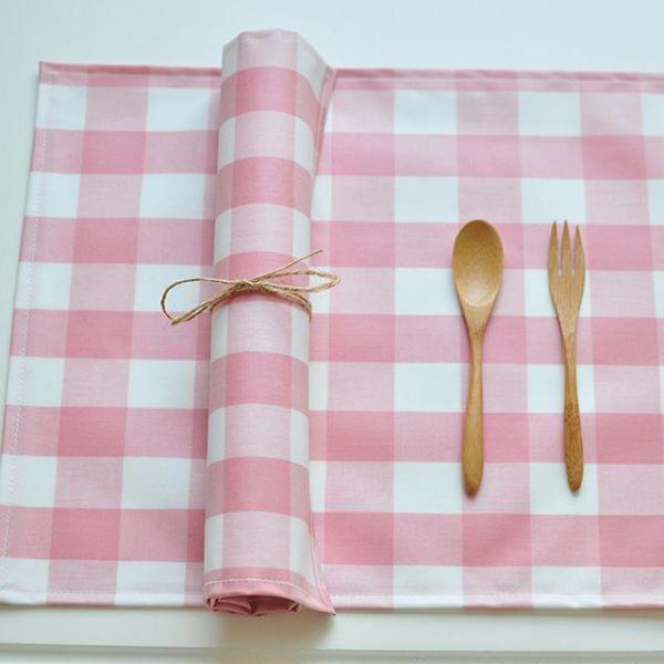 와이드 체크 방수식탁매트(핑크40cm) 상품이미지