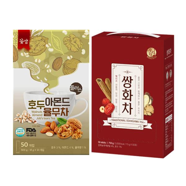 꽃샘 호두아몬드 율무차 50T+ 송원 허니 쌍화차 50T 상품이미지