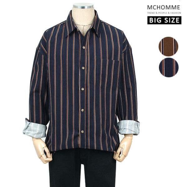빅사이즈(~3XL) 골덴 코듀로이 핀스트라이프 남방 셔츠 MO19S104 NV/ 엠씨옴므 상품이미지
