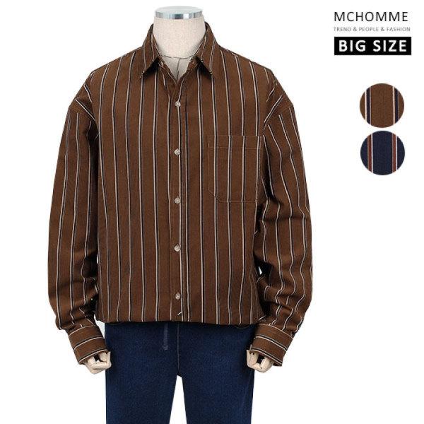 빅사이즈(~3XL) 골덴 코듀로이 핀스트라이프 남방 셔츠 MO19S104 BE/ 엠씨옴므 상품이미지