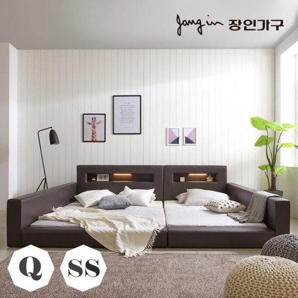 동서가구  슈가 LED가죽저상형 패밀리침대Q+SS 가드형(라텍폼스독립매트) 상품이미지
