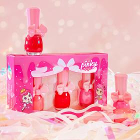 [pinky princess] Kids Nail Polish Gift Cosmetics pinky PAINT 3-item Set