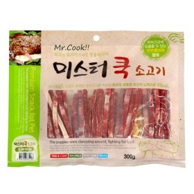 미스터쿡 강아지 사사미 간식 소고기 슬라이스 300g