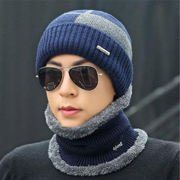 남성 겨울 방한 모자 + 넥워머 세트 니트비니 상품이미지