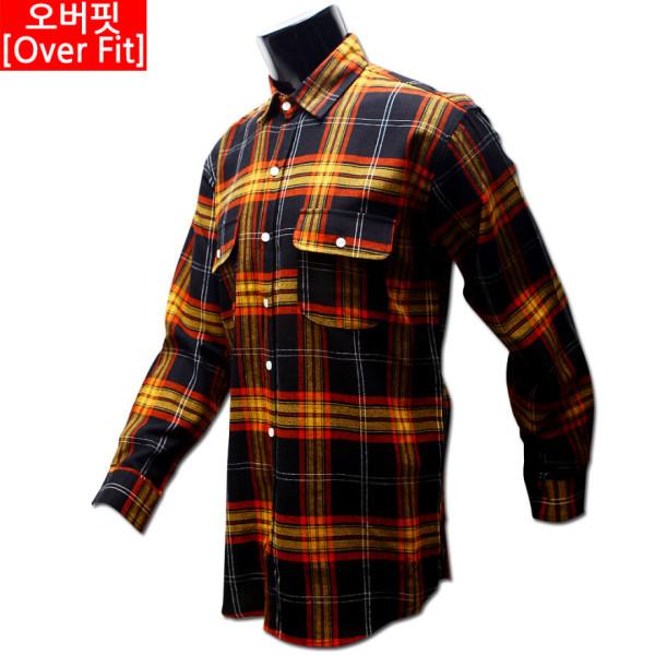 남자 빅사이즈 남여공용 커플 오버핏 체크 남방 와이 셔츠 모직 기모 39 01 후다 포켓/ 쿨제이 상품이미지