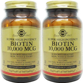 2병 Solgar 솔가 비오틴 Biotin 10000 mcg 120야채캡
