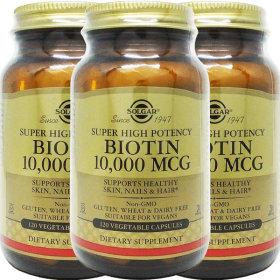 3병 Solgar 솔가 비오틴 Biotin 10000 mcg 120야채캡