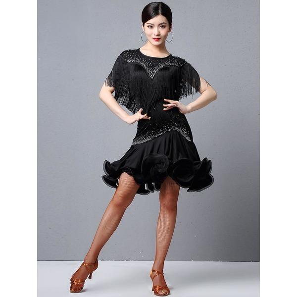 라틴 댄스 전문 공연 의상 수술장식 달린 드레스 상품이미지