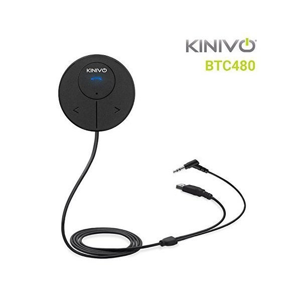 해외쇼핑/Kinivo BTC480 Bluetooth Hands-Free Car Kit for Cars with Aux Input Jack (3.5 mm) -with Magn 상품이미지