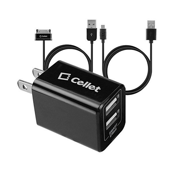 해외쇼핑/Cellet 12 Watt/2.4 Amp 2 USB Port Home Travel Charger with Samsung Tablet 30 Pin   Micro US 상품이미지