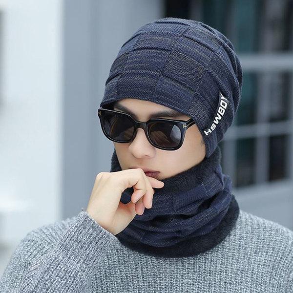 스타일 겨울 니트 비니+넥워머 세트 기모 방한 모자 상품이미지