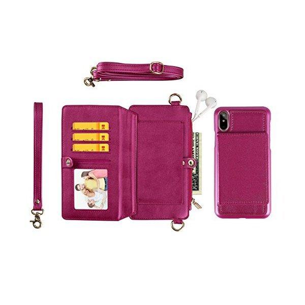 해외쇼핑/iPhone7 Case iPhone8/X and Galaxy S8/S9+ Women Wallet Leather Zipper Fashion and Shoulder R 상품이미지