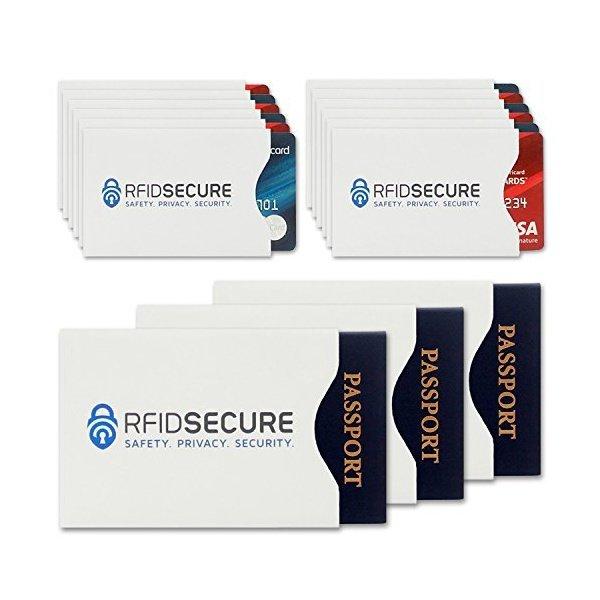 해외쇼핑/15 RFID Blocking Sleeves (12 Credit Card   3 Passport Protectors) Top Identity Theft Protec 상품이미지