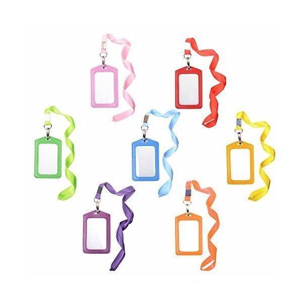 해외쇼핑/Cosmos  7pcs Vertical Style Assorted Color Faux Leather Business Id Credit Card Badge Holde 상품이미지