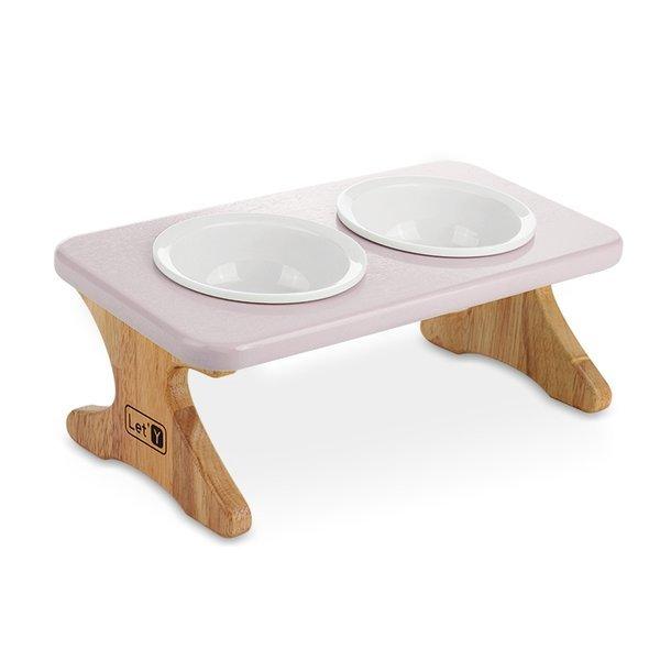 레티 원목애견식탁2구 도자기 식기세트(16cm 핑크 ) 상품이미지