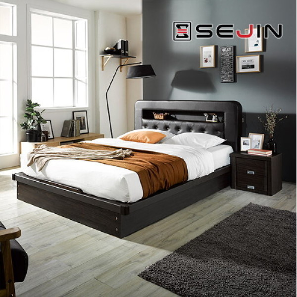 (AK몰)(파로마)(파로마) 세진 레프리 PU가죽 LED 수납형 침대 +오리온 7존독립 FM볼라텍폼스 55T 매트리스K 상품이미지