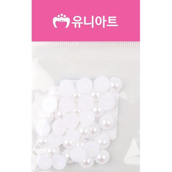 (유니아트) 1000 반쪽진주 꽃 10mm 흰색 상품이미지