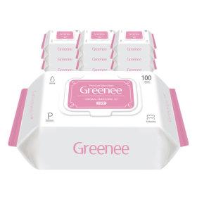 그리니 프리미엄 아기물티슈 핑크 100매 X 10팩 캡형