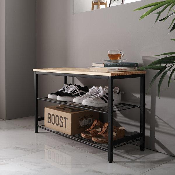 블랙 스툴 신발정리대 벤치 의자 화분정리대 신발장 상품이미지