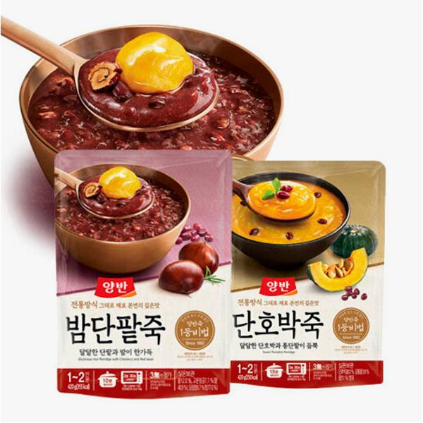 (현대Hmall)동원 양반죽(파우치) 420g x5개 /전복/쇠고기/단호박/밤단팥 상품이미지