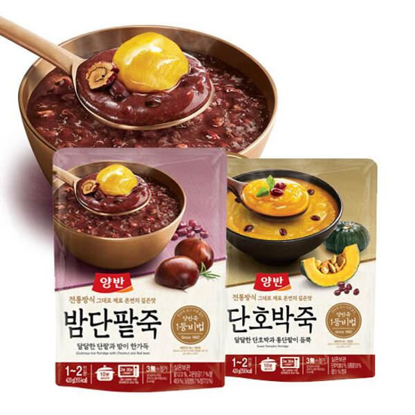 (현대Hmall)동원 양반죽(파우치) 420g x3개 /전복/쇠고기/단호박/밤단팥 상품이미지
