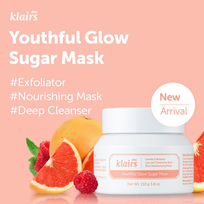 Klairs/ Youthful Glow Sulgar Mask/ 3 ways to use