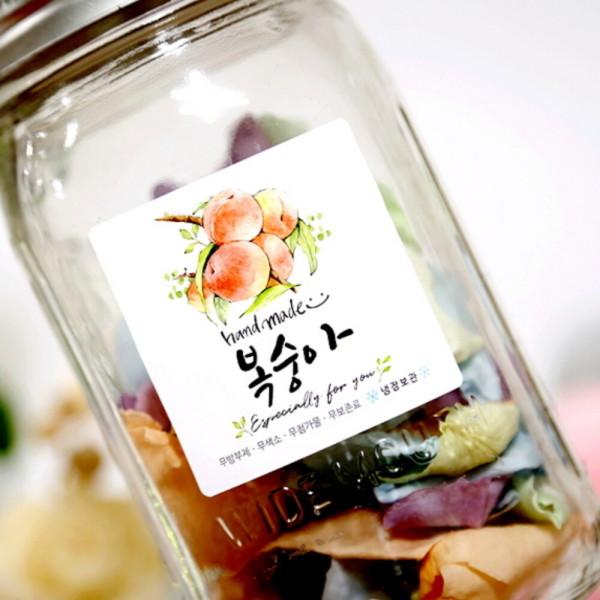 No.28복숭아 복숭아청 과일청 수제청 스티커 (10매)(바보사랑) 상품이미지