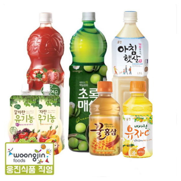 웅진식품  건강음료 모음(초록매실/아침햇살/꿀홍삼/내사랑유자C/잘자란유기농/자연은토마토) 상품이미지