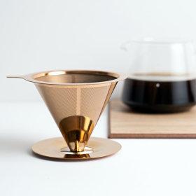로즈 골드 티타늄 코팅 스텐 커피 드리퍼 TP01 1~3인용
