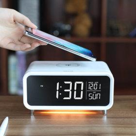 무소음 LED탁상시계 무선충전 무드등 날짜 MC-W4